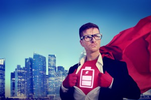 Battery Strong Superhero Success Professional Concept
