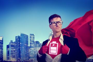 Battery Strong Superhero Success Professional Concept